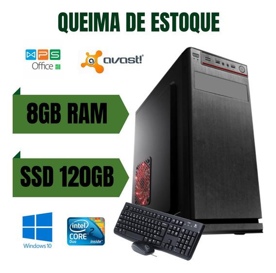 Cpu Desktop Core 2 Duo 8gb Ram 500gb Win10 - Com Programas !