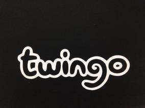 Logotipo Emblema Adesivo Renault Twingo Branco Traseiro T3at