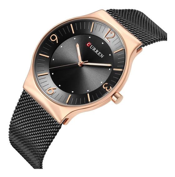 Relógio Masculino Curren Social Ultra Fino Dourado Metálico