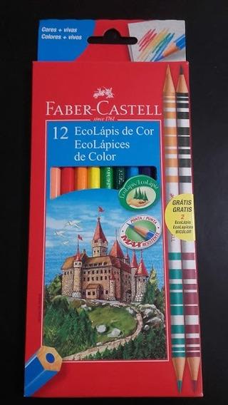 Lapices Faber Castell X12 Colores + 2 Lapices Bicolor Oferta