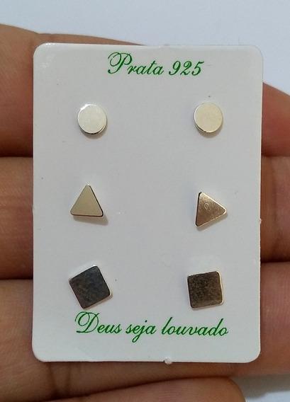 Kit 3 Pares De Brincos 1° 2° 3° Furo Presente Feminino Prata