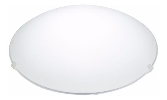 Plafon Em Vidro Redondo Para 1 Lâmpada Clean 25cm Branco
