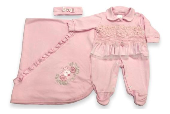 Kit Saída Maternidade Rosa 3pç Bebê Menina Enxoval Promoção