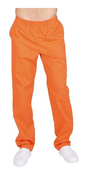 Pantalon Para Chef Unisex Naranja Con Resorte Bolsillos T.xl