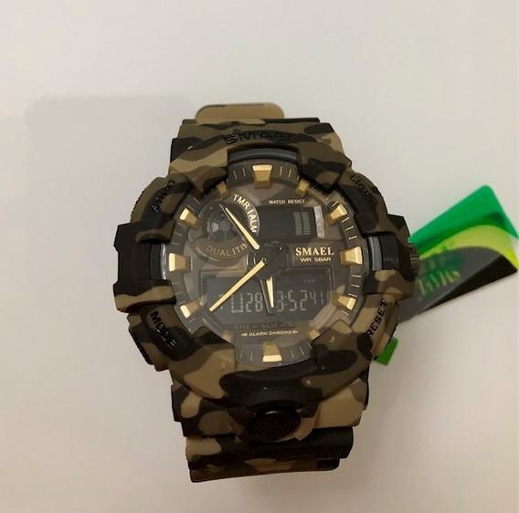 Relógio Smael Militar Shock Verde Camuflado Black Friday