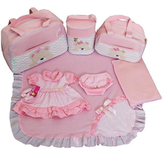 Kit Bolsa Maternidade Luxo 4pcs + Saida Completa Rosa Bebê