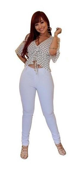 Calça Jeans Branca Feminina Cintura Alta C/ Lycra + Cores