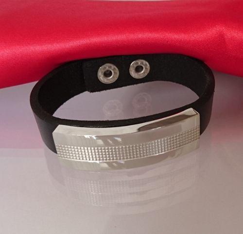 Bracelete Pulseira Masculina Couro E Aço Prateada 15mm