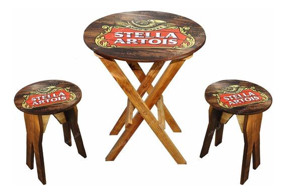 Jogo De 1 Mesa E 2 Bancos Rústico Bar Stella Artois Pinus