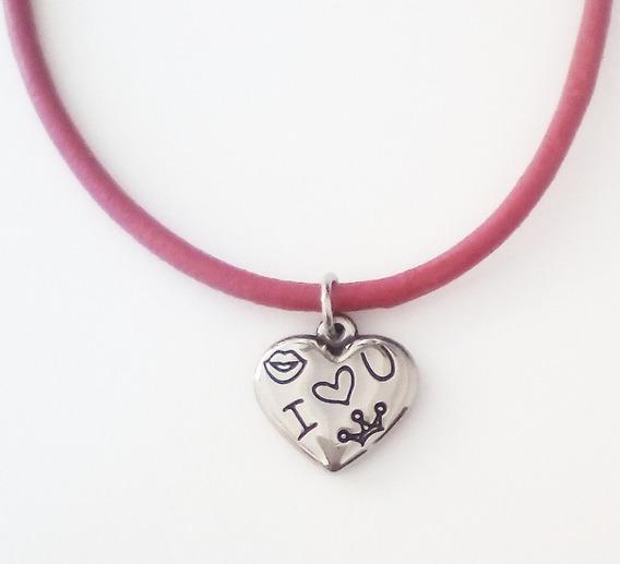 Collar Dije Corazón Con Simbolos De Amor Para Decir Te Amo