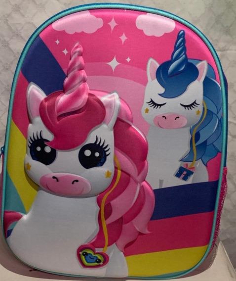 Unicornio Mochila Escolar Importada 3d 38x30x11