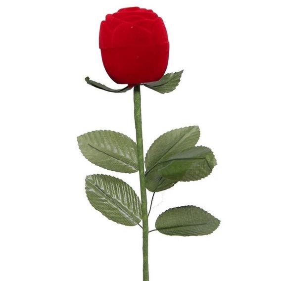 Caixa De Veludo Rosa C/ Cabo Anel Aliança Presente Namorados