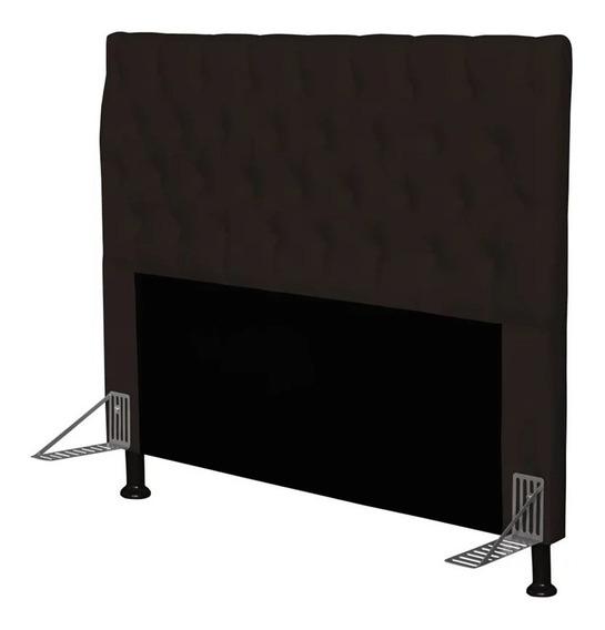 Cabeceira de cama box JS Móveis Cristal Casal 140cm x 126cm Couro sintético marrom