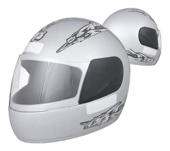 Capacete Fechado Moto Pro Tork Prata Racing Motocicleta