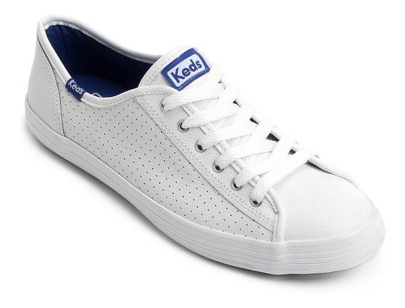 Tênis Couro Keds Kick Perf Leather Fem. - Branco E Azul
