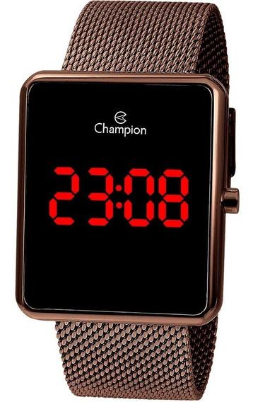Relógio Champion Feminino Chocolate Quadrado Digital