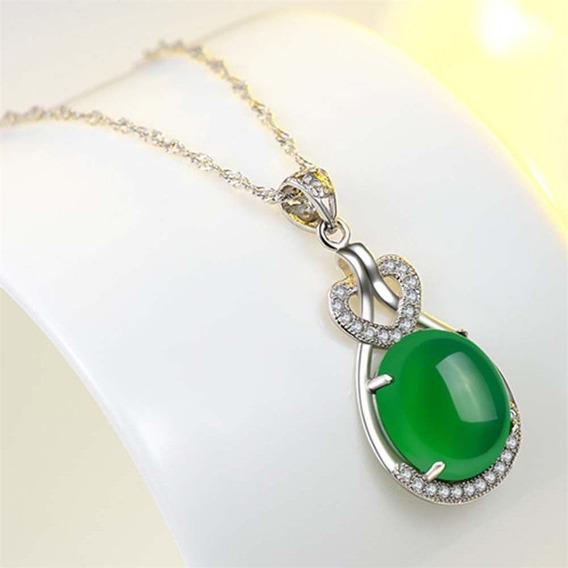 Pingente Verde Esmeralda E Prata Simulado