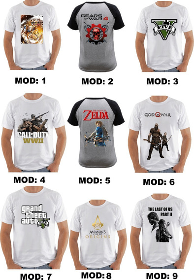 Kit 3 Camisas Camisetas Games
