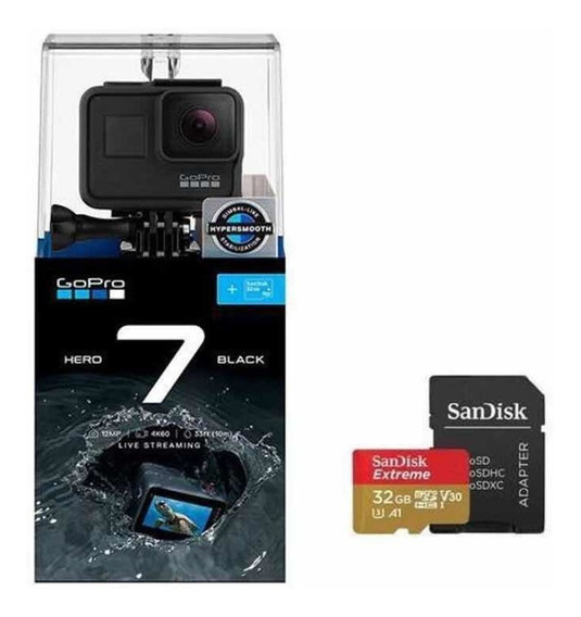 Câmera Digital Gopro Hero 7 Black 12mp Wi-fi 4k+sd 32 Gb