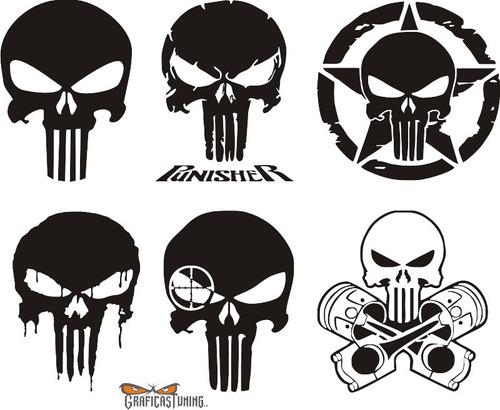 Imagen 1 de 5 de Kit Punisher 02 - 6 Calcos Alto 20 Cm C/u Graficastuning