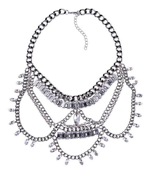 Hermoso Collar Grande Antimonio Cristales Plata Fiesta Boda