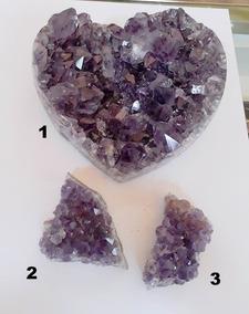 Lote Com 3 Pedras Naturais Ametista Para Colecionadores 2