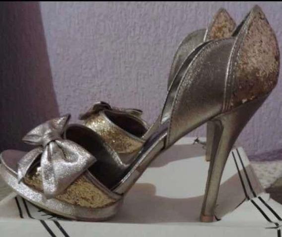 Sapato Prata Velha E Dourado