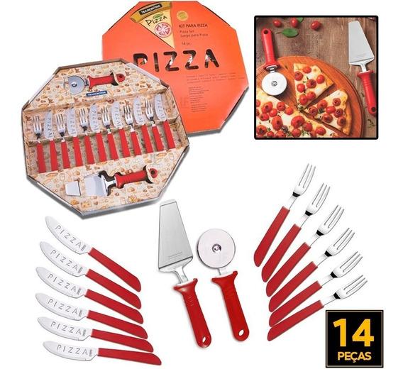 Jogo De Talheres Faca E Garfo Pra Pizza Tramontina Vermelho