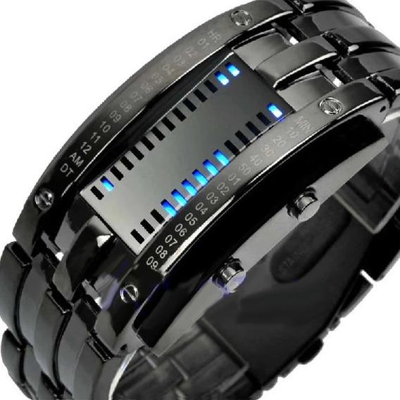 Relógio Digital Azul Aço Inoxidável