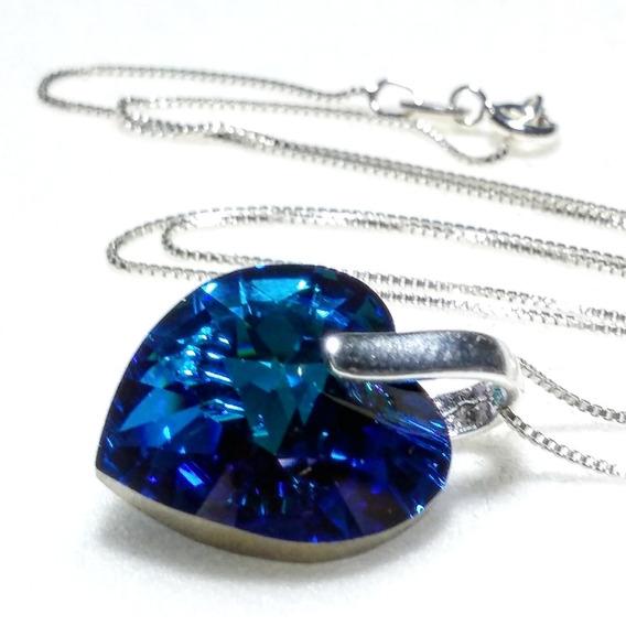 Collar Corazón 18mm Bermuda Blue Cadena Plata 925 Venecia.