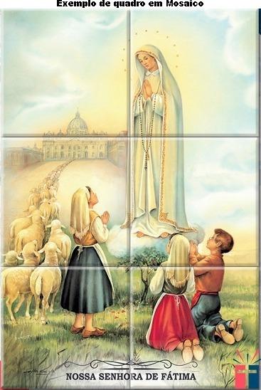 Quadro Mosaico Em Azulejo Nossa Senhora De Fátima 30 X 45 Cm