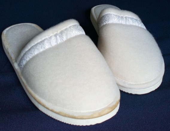 Chinelas/pantuflas Dama/mujer - Paño Blanco -nr. 38 -miralas
