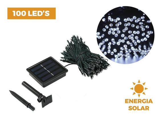 Cordão De Luzes Solar Decoração Natal Lâmpadas 100 Leds 5m