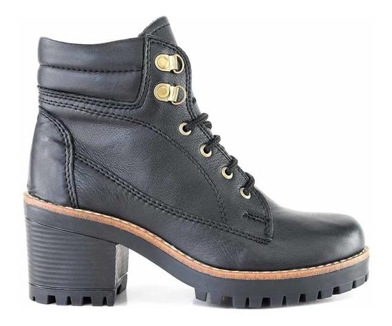 Bota Mujer Zapato Borcego Cuero Briganti Cordon - Mcbo24699