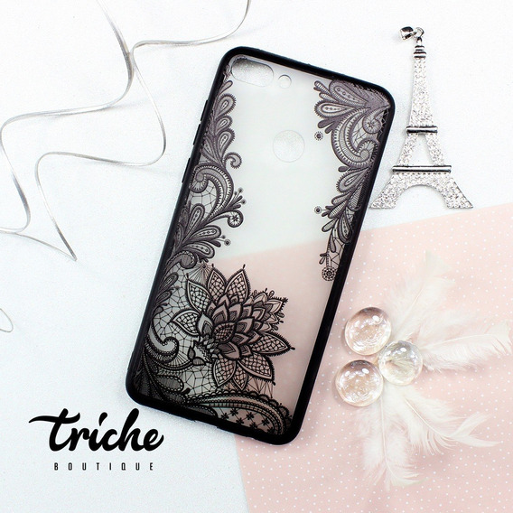 Funda Case Flor De Loto Negro Vintage Huawei Y9 2018