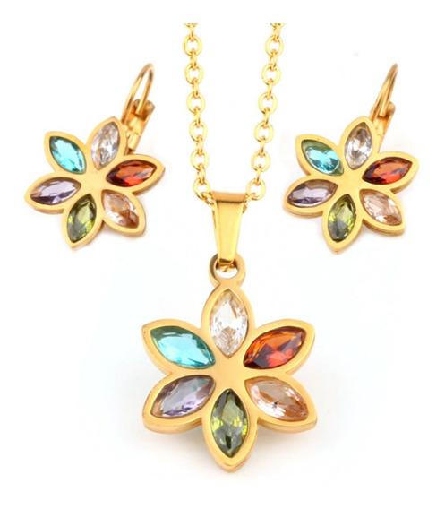 Set: Collar+aretes, Flor Zirconias Colores Acero Inoxidable