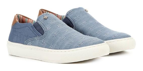Tênis Slip On Feminino Cravo E Canela Tecido Azul Jeans