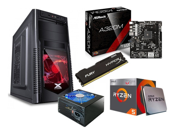 Kit Orion Ryzen 5 2400g A320m Hd Hyperx 8gb Fonte 600w Led