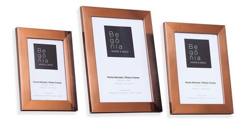 Kit 3 Porta-retratos De Mesa Premium Bronze Begônia