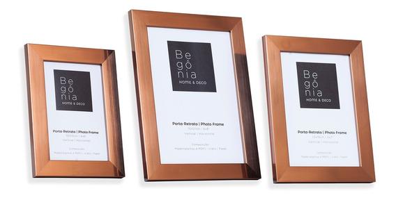 Kit 3 Porta-retratos Premium 10x15cm/13x18cm/15x21cm Begônia