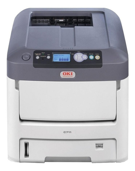 Impressora a cor OKI C711DN 220V - 240V branca e cinza