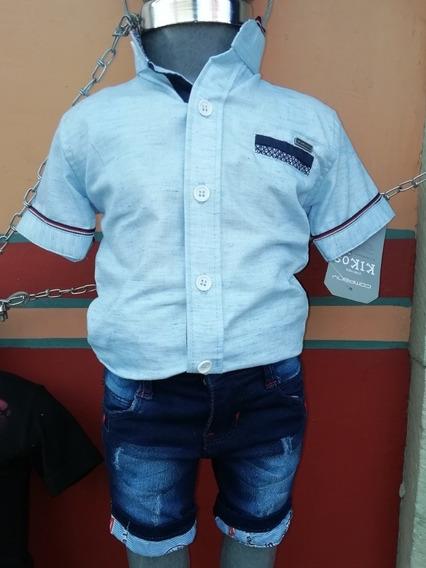 Conjunto Bermuda Mezclilla Y Camisa Manga Corta