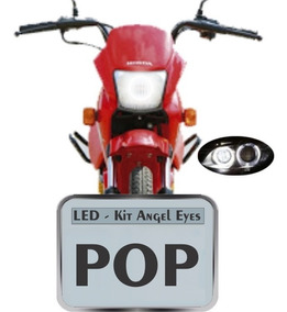 Kit Com 1 Angel Eyes Led Farol Drl Moto Honda Pop 100 110