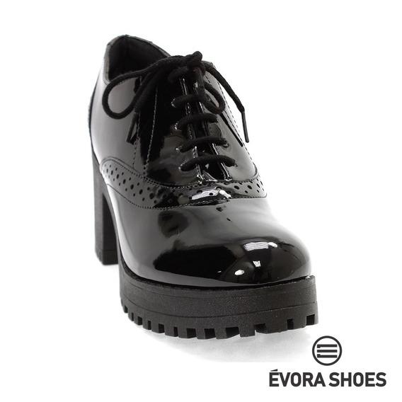 Sapato Oxford Bebecê Preto Verniz Tratorado - Frete Grátis