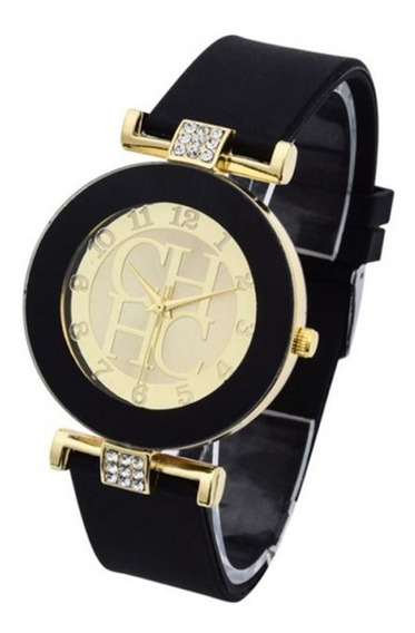 Relógio Feminino Strass Preto Dourado