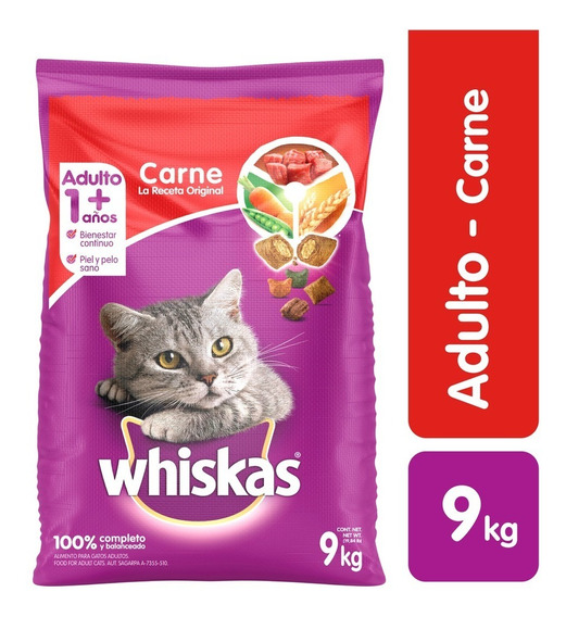 Comida Gatos Whiskas Carne 9k - kg a $9917