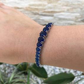 Pulseira Feminina Prata 925 Maciça Pedra Safira Azul