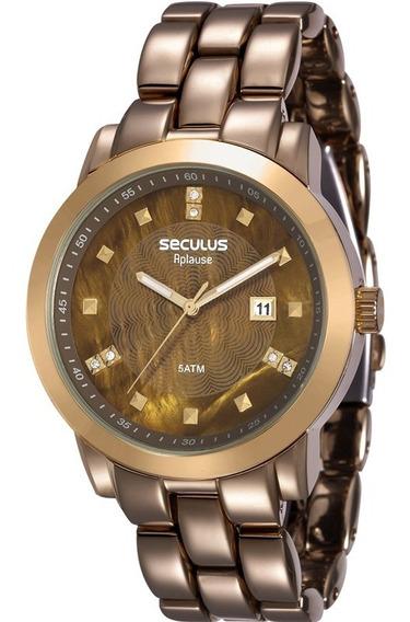 Relógio Seculus Feminino Cobre Marrom Original 20422lpsvma2
