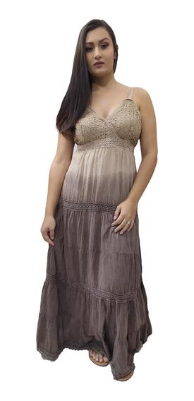 Vestido Longo Alça Indiano Tie Dye Bordado No Busto 725