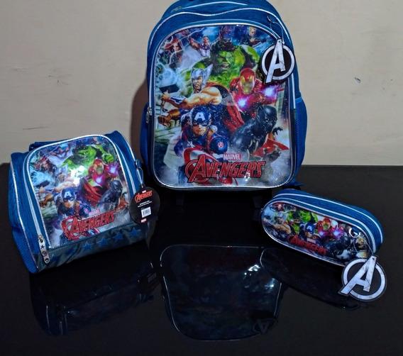 Kit Escolar Avengers Mochila De Costas Estojo E Lancheira